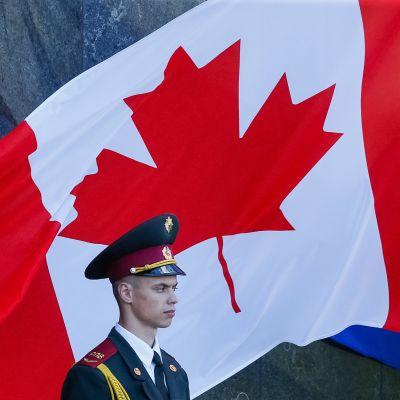 Kuvassa on Kanadan lippu, sotilas seisoo sen vieressä