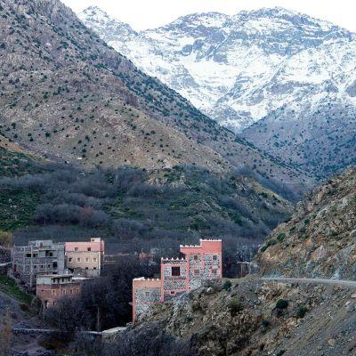 Atlaksen vuoristoa kuvattuna Imlilin kylältä 18. joulukuuta.