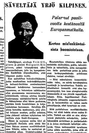 Juttu Helsingin Sanomissa 19.3.1930: Säveltäjä Yrjö Kilpinen palannut puoli vuotta kestäneeltä Euroopanmatkalta.