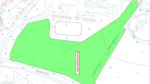 En karta som visar var träd måste fällas för att Tenala nya daghem ska kunna byggas.