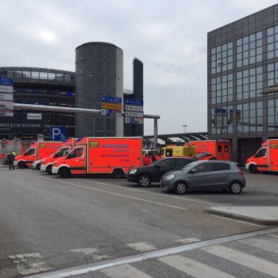 Evakuering av flygplatsen i Hamburg 17.2.2017.