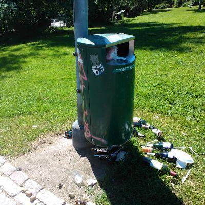 Kun roskat eivät mahdu roskasäiliöön, ne heitetään valitettavan usein maahan säiliön viereen. Näky on tyypillinen Helsingin puistoissa lämpimän kesäpäivän jälkeen.