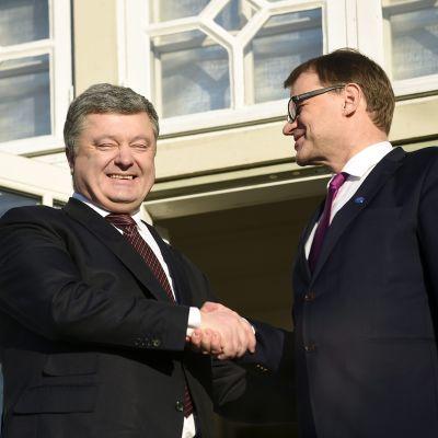 Juha Sipilä ja Petro Porošenko tapasivat tammikuussa Kesärannassa.