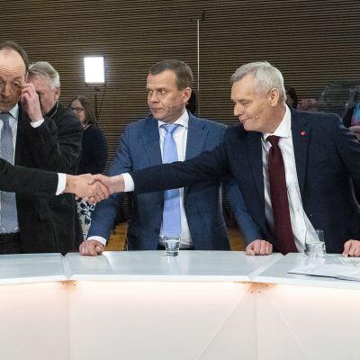 Juha Sipilä, Jussi Halla-aho, Petteri Orpo ja Antti Rinne.