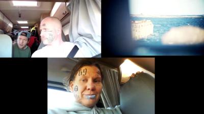 En delad skärmbild som visar tre bilder, två av människor i en husvagn och en som visar en finländsk havsvy.