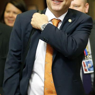 Statsminister Juha Sipilä i Bryssel 24 september 2015.
