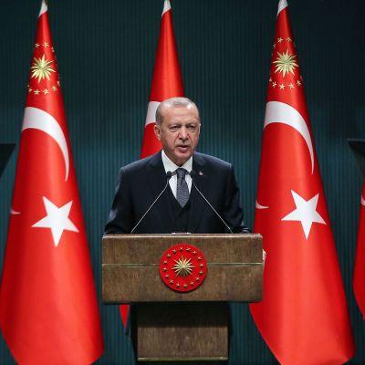 Recep Tayyip Erdoğan puhumassa, Turkin lippuja