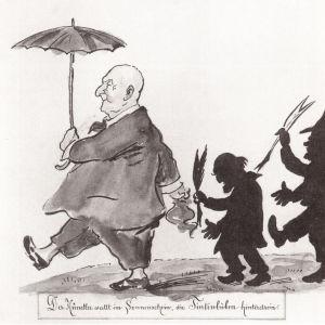 taidekriitikot marssivat taiteilija Anton Brucknerin perässä