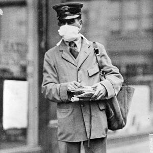 En postman i New York under epidemin av Spanska sjukan 1918.