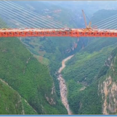 Världens högsta bro ovanför Beipan-floden i sydvästra Kina.