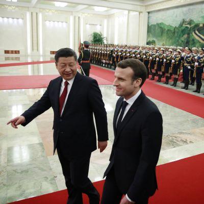 Kiinan presidentti Xi Jinping vastaanotti Ranskan presidentin Emmanuel Macronin Pekingissä 9. tammikuuta 2018.
