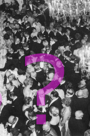 Easavallan presidentin itsenäisyyspäivän vastaanotto Presidentinlinnassa 1964. Tungos kahvipöydän luona