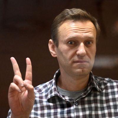 Venäläinen oppositiovaikuttaja Aleksei Navalnyi oikeudenkännissä.