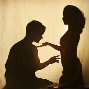 Varjokuvassa vastakkain mies istuu ja nuori nainen seisoo. Kummankin käsi kurkottaa toista kohden