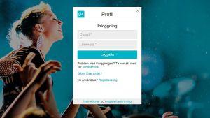 Skärmdump från inloggningssidan av Yle Profil.