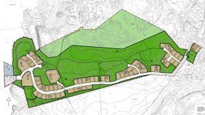 Karta över ett utkast till detaljplan i Ekenäs, Båssastranden. Gröna och bruna fält på kartan visar var det ska finnas rekreationsområden och var den kan byggas bostäder.
