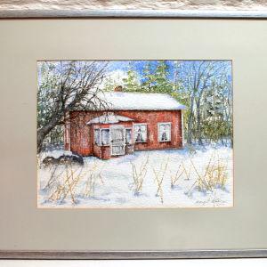 En akvarellmålning av en stuga på Mickelsörarna
