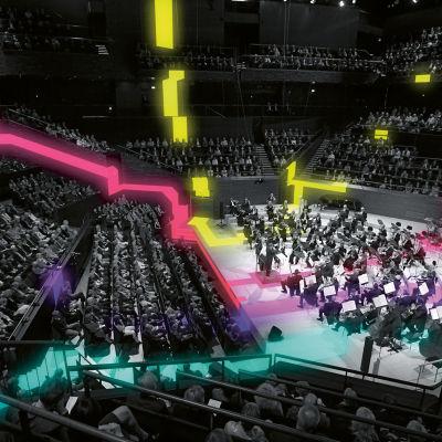 Helsingin kaupunginorkesteri esiintyy Musiikkitalon konserttisalissa / lisätty valoefektejä.