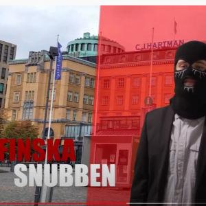 Screenshot ur Finska snubbens video. Han intervjuas med balaklava på.