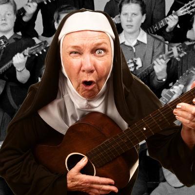 Gitarrspelande nunna blinkar med ena ögat.