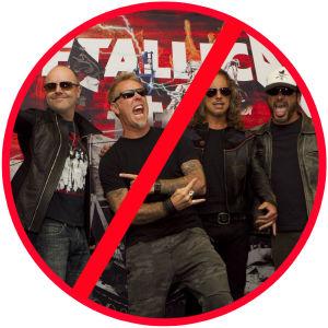 Förbudsskylt med Metallica inuti.