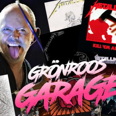 Grönroos garage kollage med Lars Ulrich och alla studioalbumen.