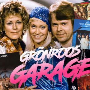 Kollage med ABBA plus alla skivomslag och grönroos garage logo.