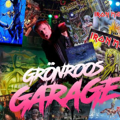 Grönroos garage logo med Iron Maiden kollage med alla skivkonvolut och livebild.