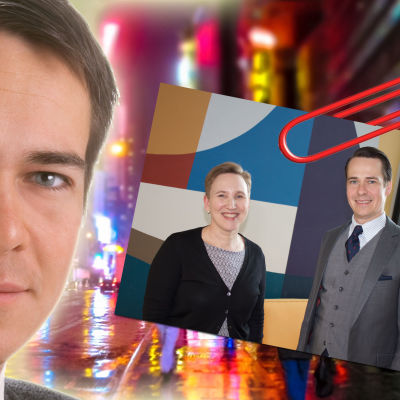 Kollage med ung Carl Haglund mot häftig neon-stadsbild i bakgrunden och i hörnet foto på honom med Paula Salovaara 2018.