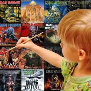 Kolage där pojke målar iron Maidens samtliga skivomslag