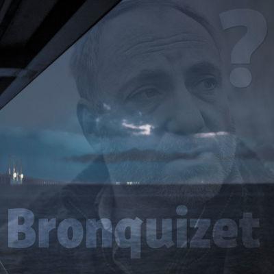 Bild från tv-serien bron med Saga Norén under bron och martin Rohdes ansikte på himlen samt texten Bronquizzet i nedre högra hörnet