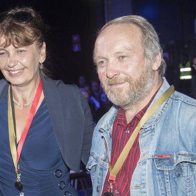 Riikka Slunga-Poutsalo  ja Teuvo Hakkarainen Perussuomalaisten puoluekokouksessa 2017.