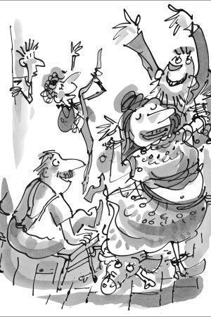 Tuukka-Omar, Paavo, Amira-täti, Naser-setä ja Jaska-minipossu tanssivat.