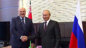 Belarus president Aleksandr Lukasjenko (t.v.) och Rysslands president Vladimir Putin träffades i Sotji, Ryssland måndagen 14.9.2020.