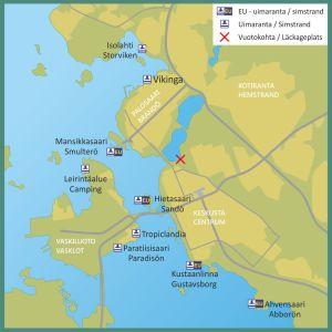 Karta över stränder i Vasa samt läckageplats för avloppsvatten.