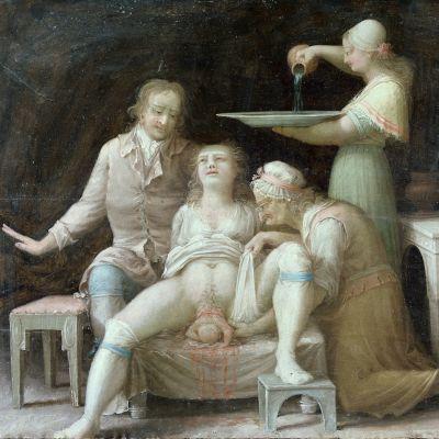 Målning av en förlossning, gjord runt år 1800 i Åbo.