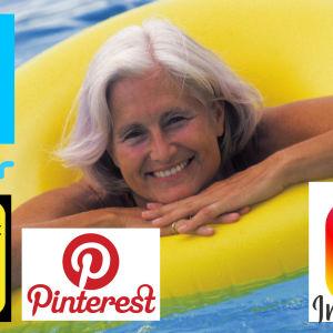 äldre dam i pool och sociala mediers logon