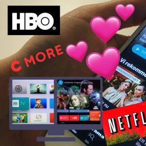 En hand som håller i mobiltelefon med Yle Arenan. På bildenexempal på andra tjänster, Netflix, HBO, viddla.