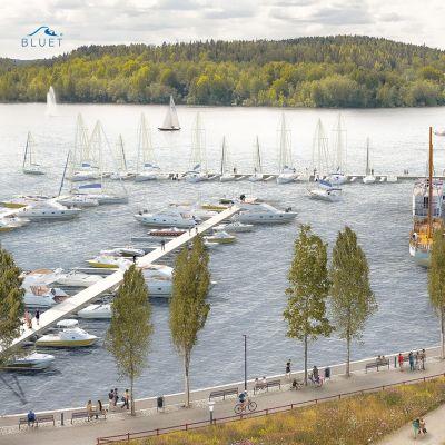 Havainnekuva Jyväskylän Lutakon sataman uusista laiturijärjestelyistä.