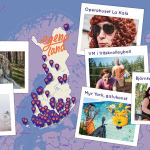Karta över Finland omgärdad av kort från åtta olika orter.