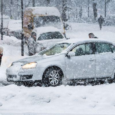 Mies lapioi lunta auton edestä.