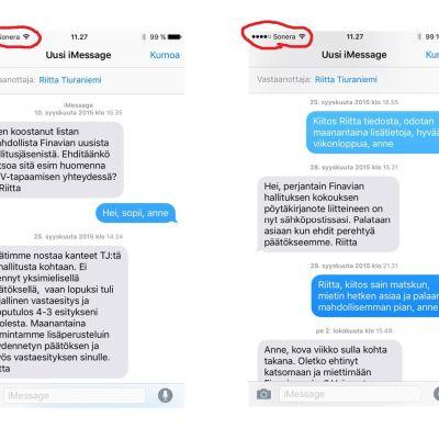 Skärmdumpar från kommunikationsminister Anne Berners telefon publicerades förra onsdagen på Kommunikationsministeriets hemsida. Operatörslogon (Sonera) visar att ministern har använt en privat telefon för meddelandeutbytet.
