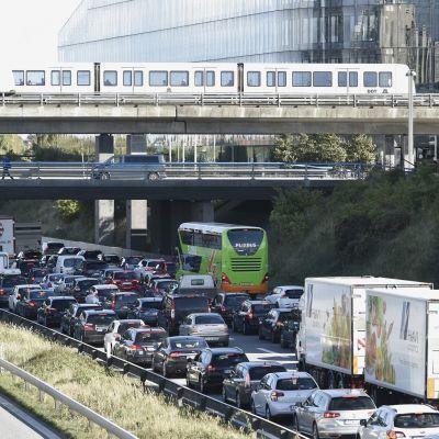 Ruuhkautunutta liikennettä Tanskassa.