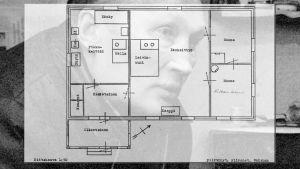 Pentti Saarinen som bakgrund för planritning över stugan där hans fru Hilkka hittades inmurad i ugnen.