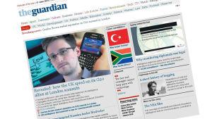 Tidningsurklipp ur The Guardian med Edward Snowdens avslöjanden.