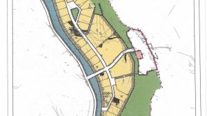 En detaljplanekarta över Slussenområdet i Sjundeå, vid Sjundeå å. Detaljplanen uppdaterades senare så att byggrätten minskade.