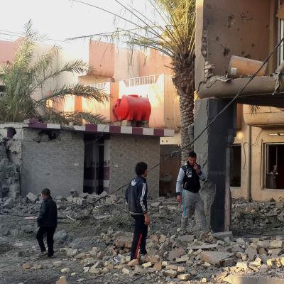 Ruiner i staden Fallujah i Irak efter strider mot IS.