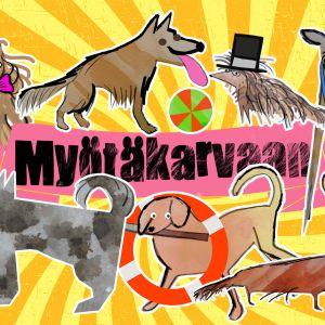 Myötäkarvaan-podcast-sarjan grafiikkakuva, kuvassa graafisia koirahahmoja