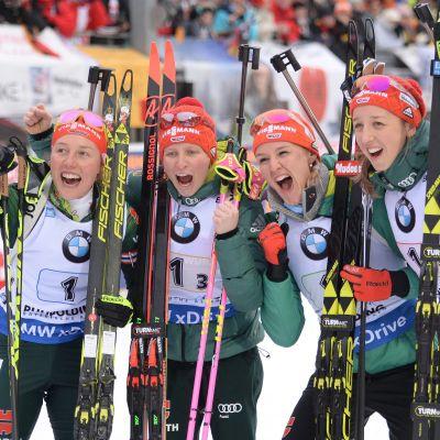 Saksan Laura Dahlmeier, Franziska Hildebrand, Denise Herrmann ja Germany's Franziska.