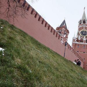 Turisteja Moskovan Kremlin edustalla 26. tammikuuta 2020.